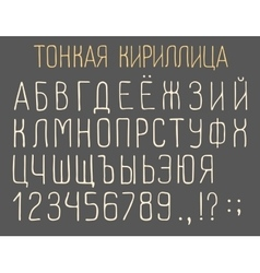 Narrow cyrillic font vector
