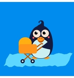 Penguin mom and baby in stroller vector