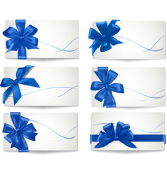 Big set of blue gift bows with ribbons vector