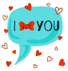 I love you card with bow-knot vector