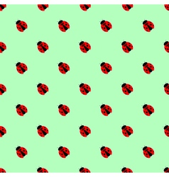 Pattern with bright little ladybugs over green vector