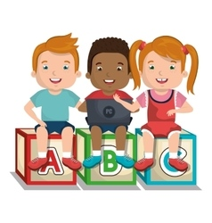 Children using computer design vector