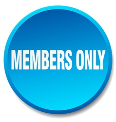 Members only blue round flat isolated push button vector