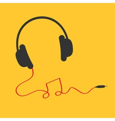 Headphones icon with red cord in shape of note vector