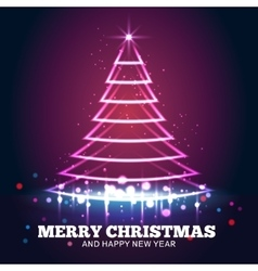 Christmas tree light red background vector image