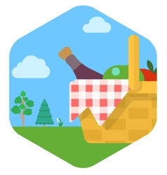 a picnic set against a green lawn vector image