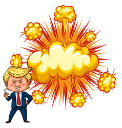American president trump with explode background vector