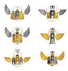 Ancient citadels emblems set heraldic design vector
