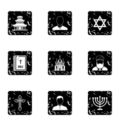 Beliefs icons set grunge style vector