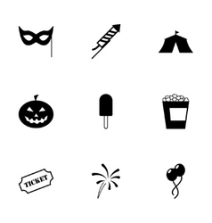 black carnival icon set vector image