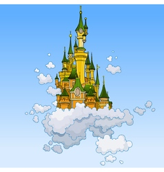 cartoon fantasy castle flying in the clouds vector image