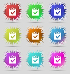 Check mark tik icon sign A set of nine original vector image