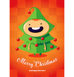 christmas card with boy in the christmas tree vector image