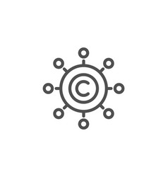 Copywriting network line icon copyright sign vector