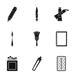 designer workspace icons set simple style vector image vector image