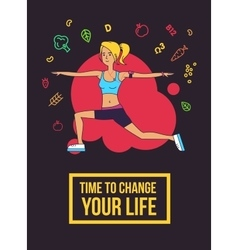 Fitness typographic poster time to change your vector