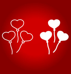 heart shaped balloons line and glyph icon vector image vector image