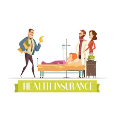 Heath insurance agent work cartoon vector