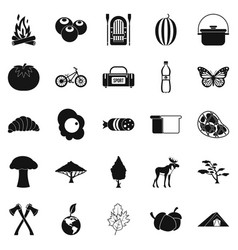 Hiking in the wilderness icons set simple style vector