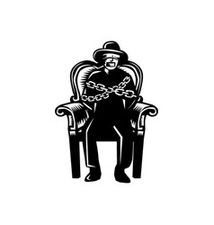 Man gagged chained to grand arm chair woodcut vector