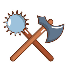Medieval battle ax and mace icon cartoon style vector