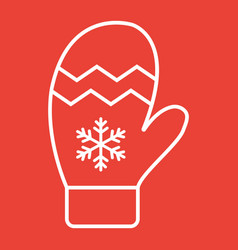 mitten line icon new year and christmas xmas vector image