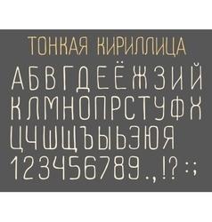 Narrow cyrillic font vector