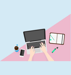 overhead view of businesswoman working at computer vector image vector image