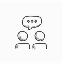 People with speech square above heads sketch icon vector image