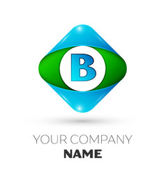 Realistic letter b logo in colorful rhombus vector