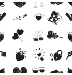 Romantic pattern icons in black style big vector