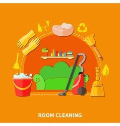Room cleaning round composition vector