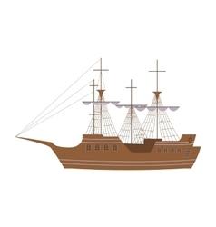 Sailing yacht in modern flat design vector