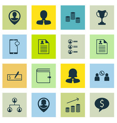 Set of 16 human resources icons includes female vector