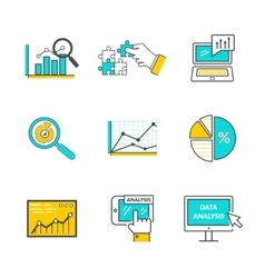 Set of icons flat style data analysis vector