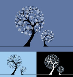 Snow trees vector image vector image