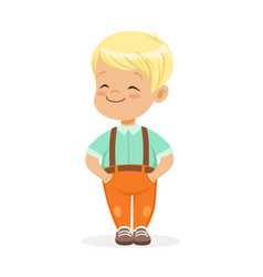 sweet smilng little blonde boy standing colorful vector image vector image