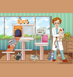 Vet and cats in animal hospital vector
