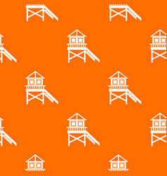 Wooden stilt house pattern seamless vector