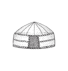 Yurt of nomads hand draw sketch drawing vector