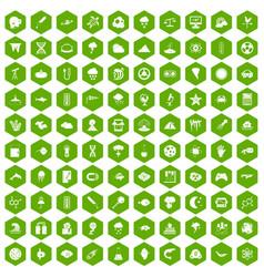 100 research icons hexagon green vector