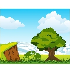 Landscape with mountain and tree vector image