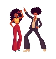 Man woman with afro hair in 1970s clothes dancing vector