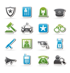 Police law and security icons vector