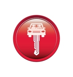 button with key in car shape vector image