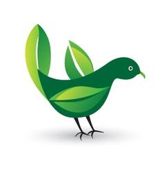 Bird with ecological leafs vector