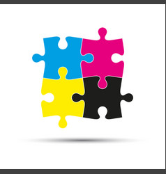 Abstract logo four puzzle pieces in cmyk colors vector