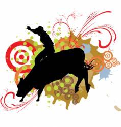 grunge bull ride vector image