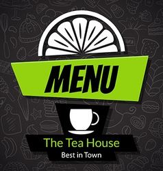 Modern tea house menu card design template vector