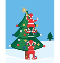 Elves decorating a christmas tree vector